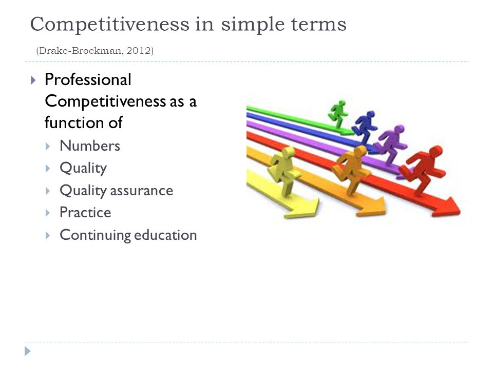 Competitiveness in simple terms (Drake-Brockman, 2012)