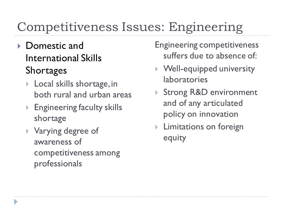 Competitiveness Issues: Engineering
