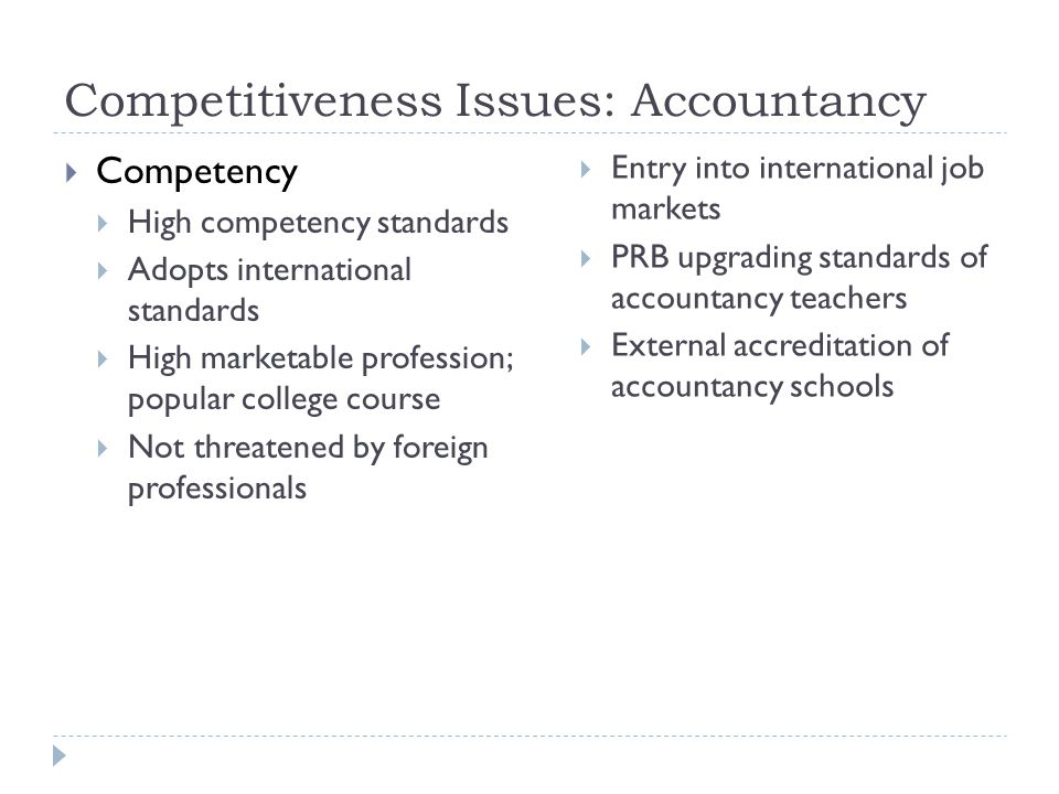 Competitiveness Issues: Accountancy