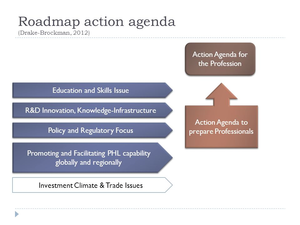 Roadmap action agenda (Drake-Brockman, 2012)