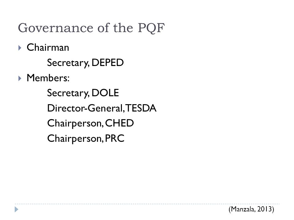 Governance of the PQF Chairman Secretary, DEPED Members: