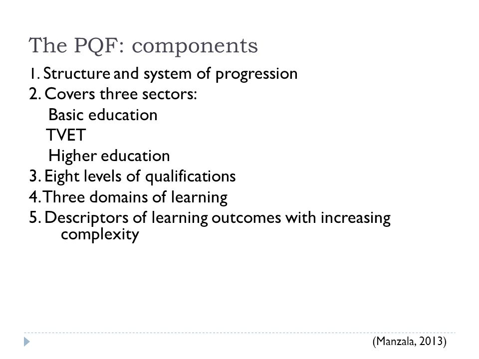 The PQF: components 2. Covers three sectors: Basic education TVET