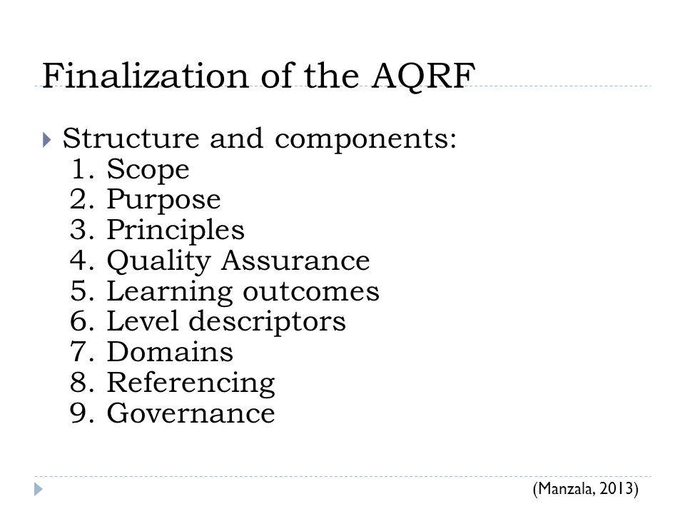 Finalization of the AQRF