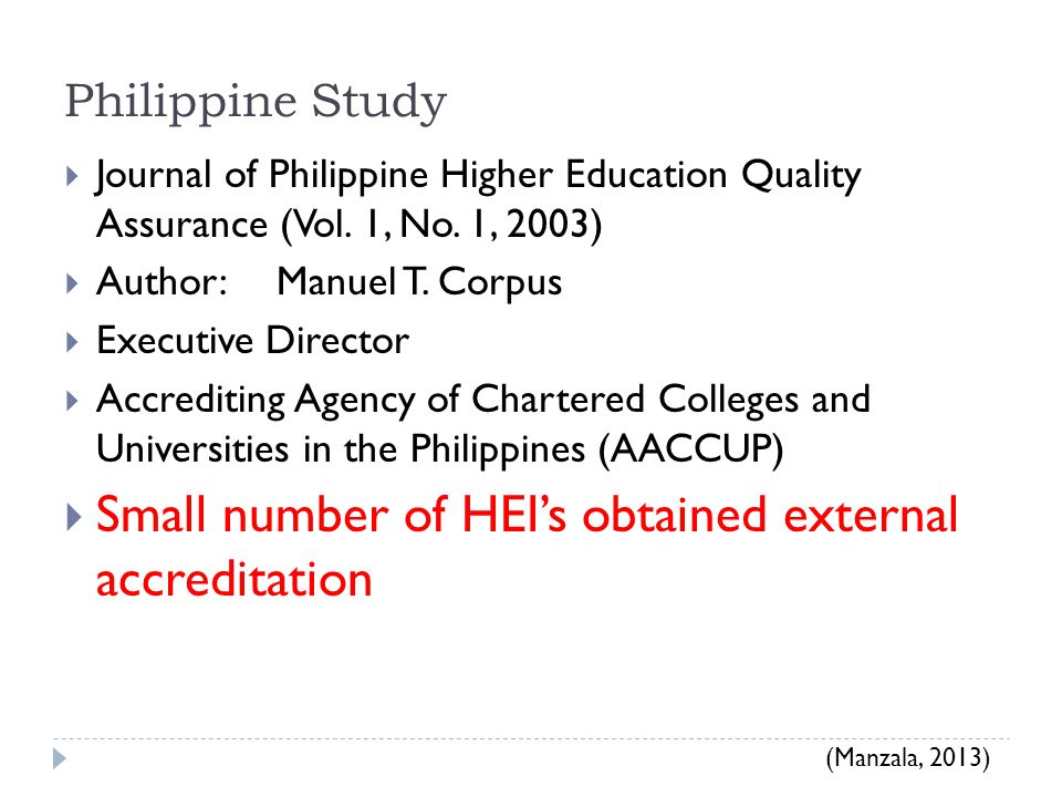 Small number of HEI's obtained external accreditation