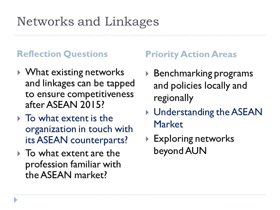 Networks and Linkages Reflection Questions. Priority Action Areas.