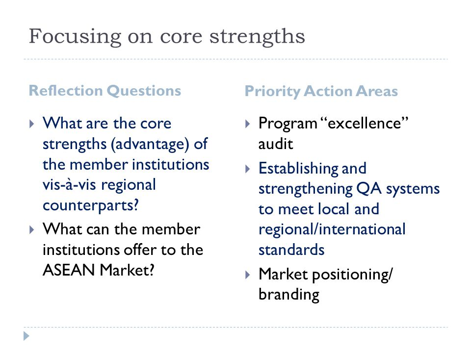 Focusing on core strengths