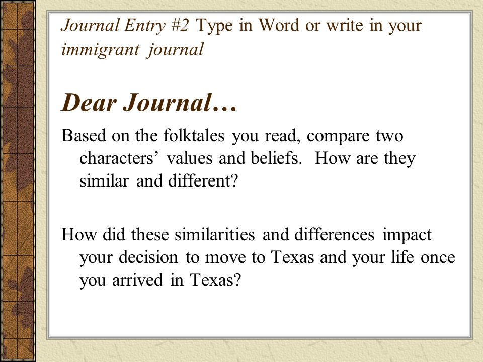 Journal Entry #2 Type in Word or write in your immigrant journal Dear Journal…
