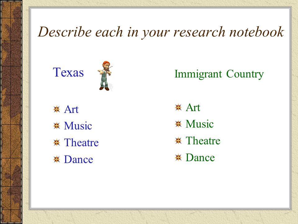 Describe each in your research notebook