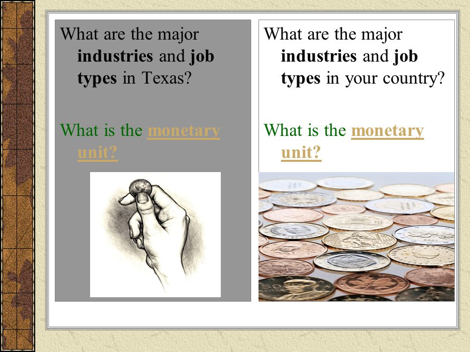 What are the major industries and job types in Texas