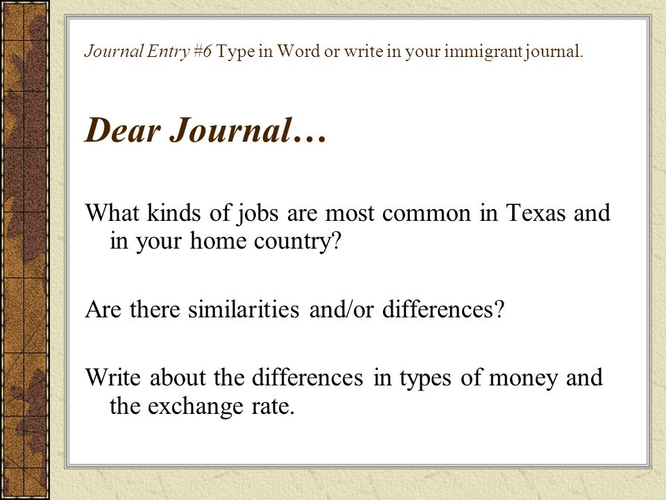 What kinds of jobs are most common in Texas and in your home country
