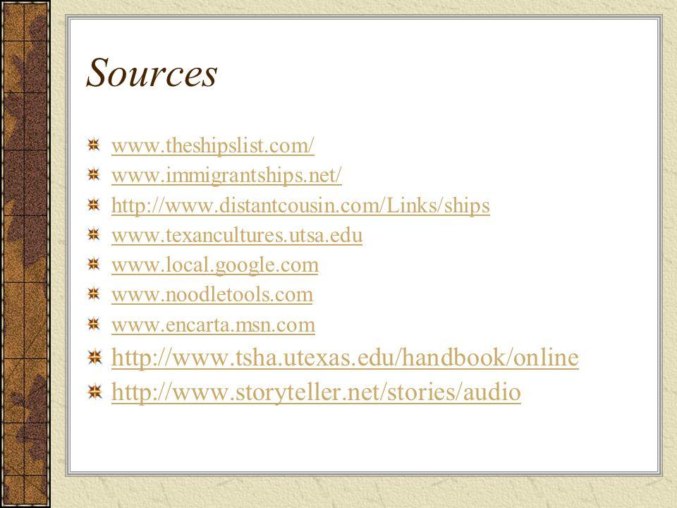 Sources http://www.tsha.utexas.edu/handbook/online