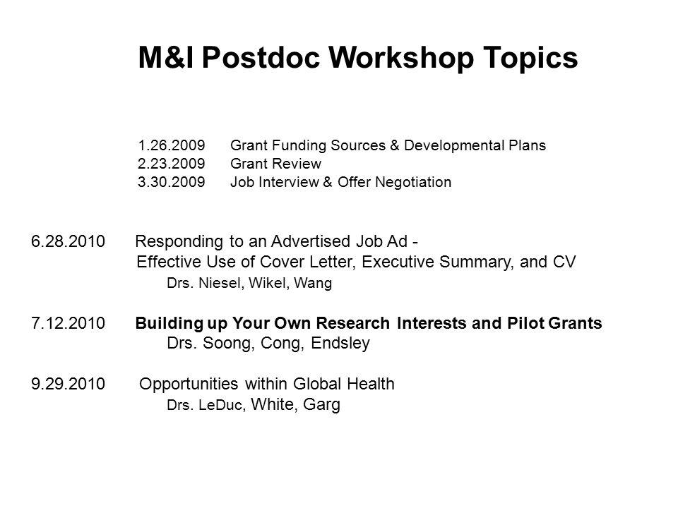 M&I Postdoc Workshop Topics