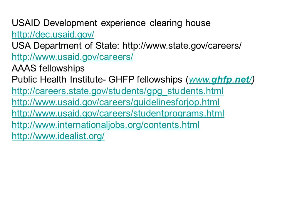 USAID Development experience clearing house http://dec.usaid.gov/