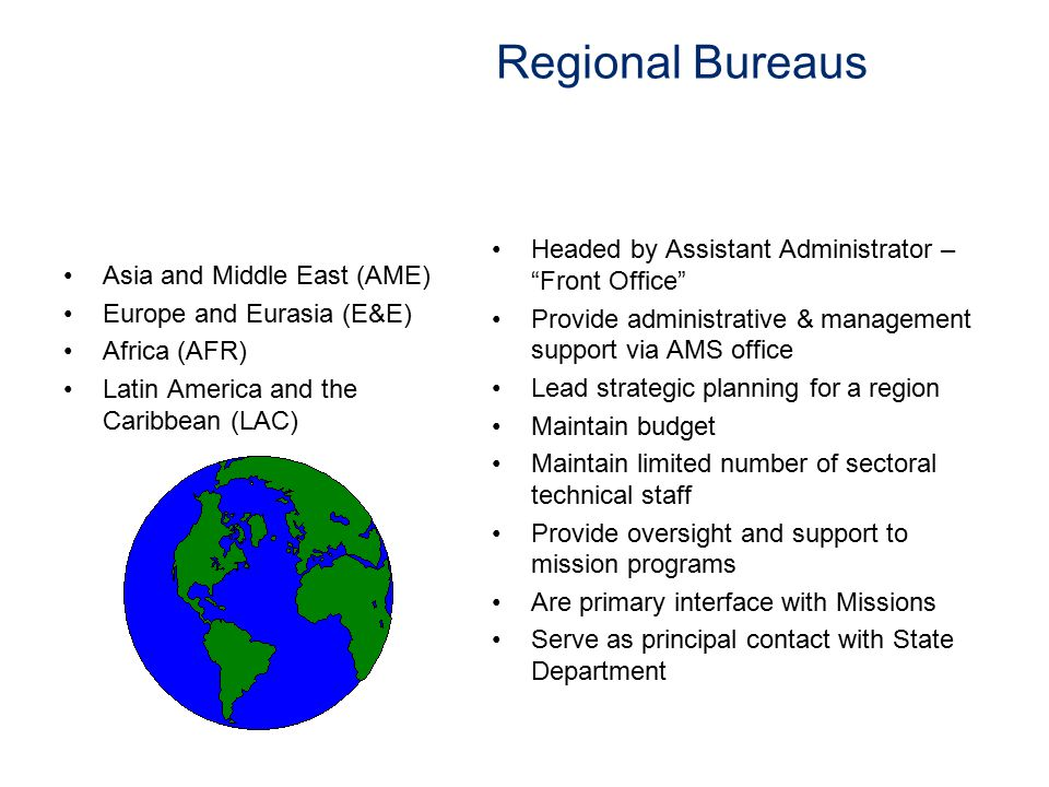 Regional Bureaus Headed by Assistant Administrator – Front Office