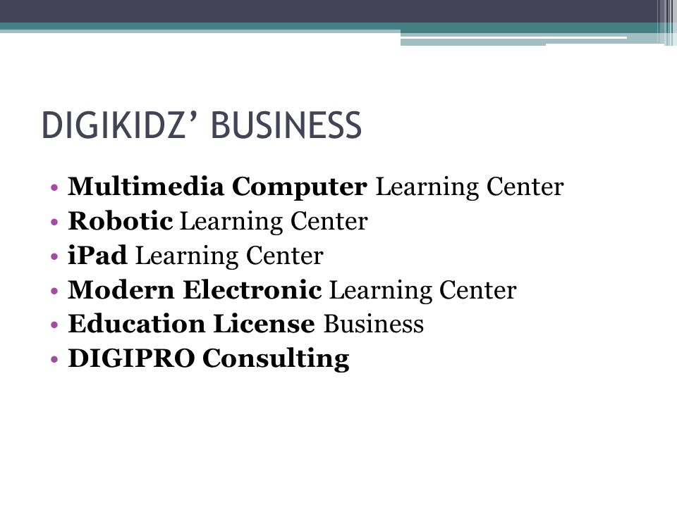 DIGIKIDZ' BUSINESS Multimedia Computer Learning Center