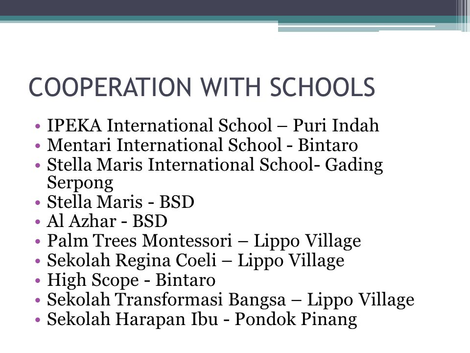 COOPERATION WITH SCHOOLS