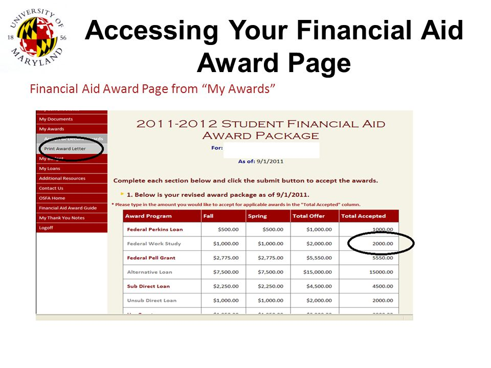 Accessing Your Financial Aid Award Page