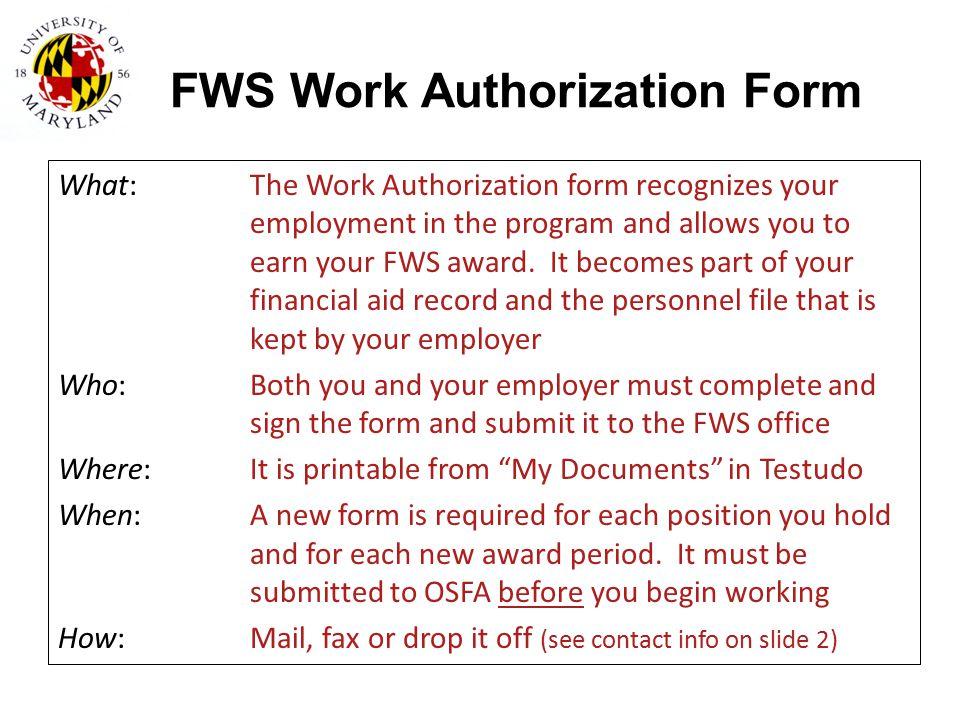 FWS Work Authorization Form