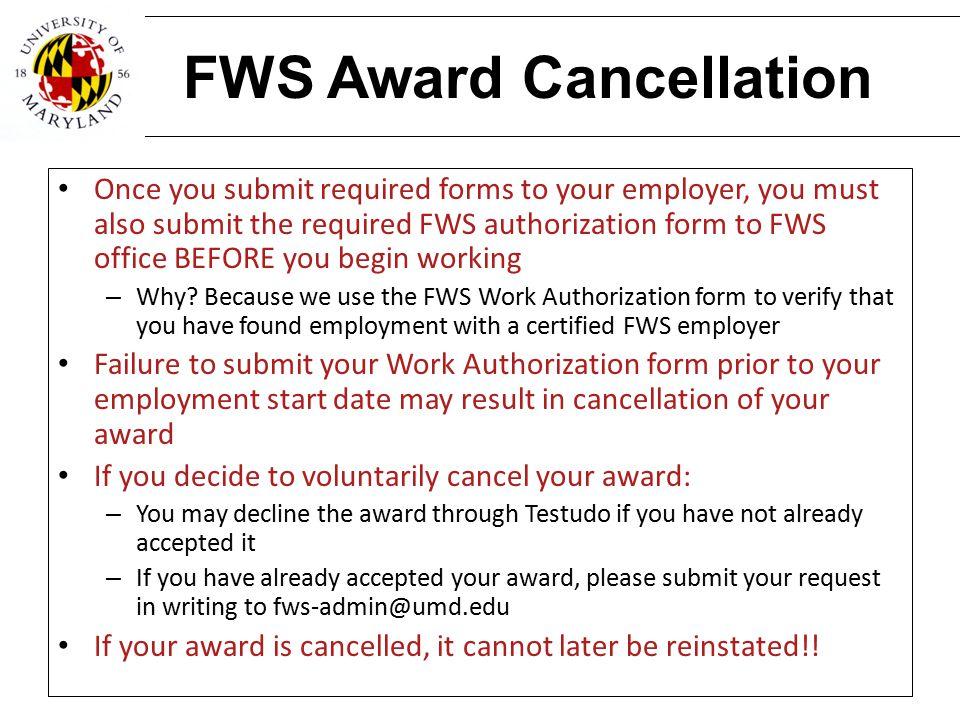 FWS Award Cancellation