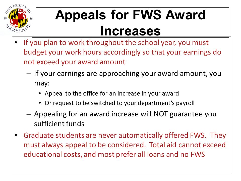 Appeals for FWS Award Increases