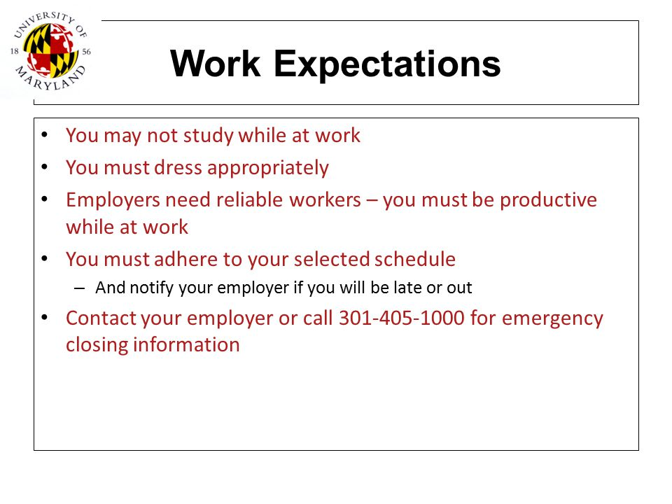 Work Expectations You may not study while at work