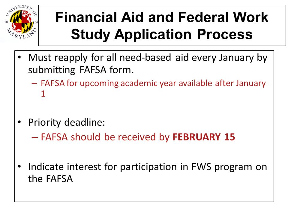 Financial Aid and Federal Work Study Application Process