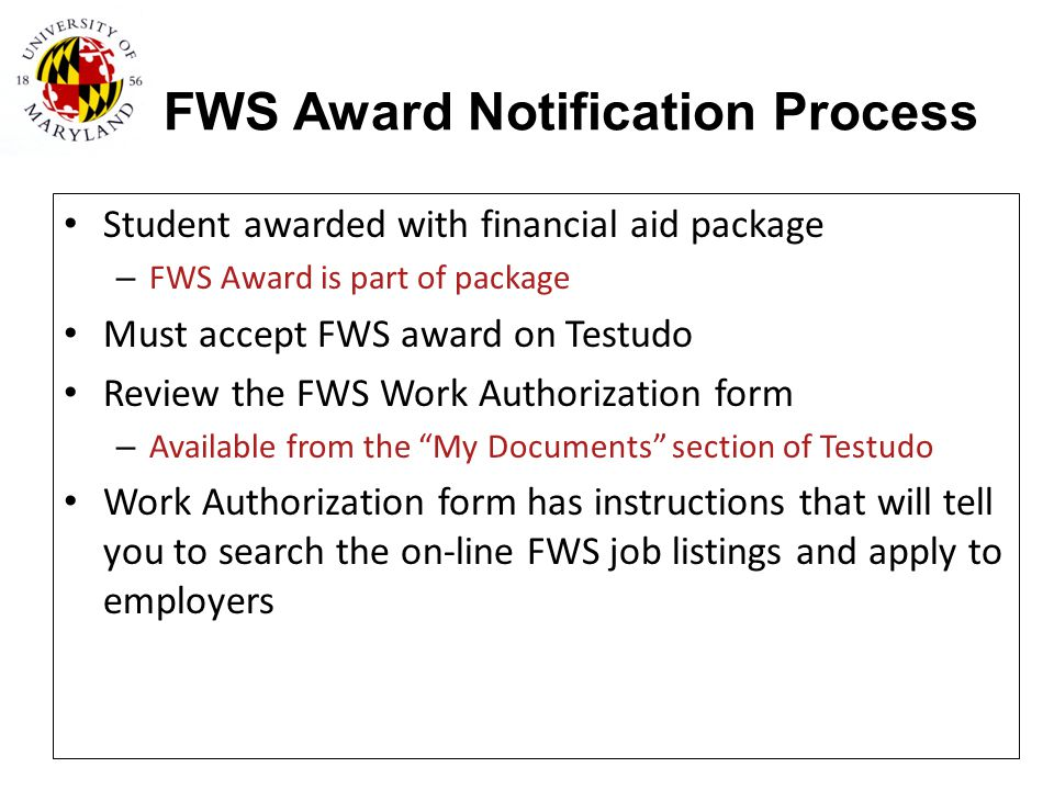FWS Award Notification Process