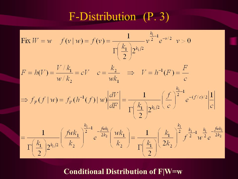 Conditional Distribution of F|W=w