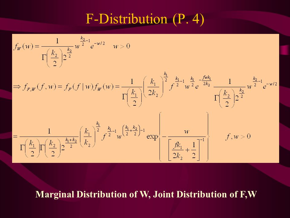 Marginal Distribution of W, Joint Distribution of F,W