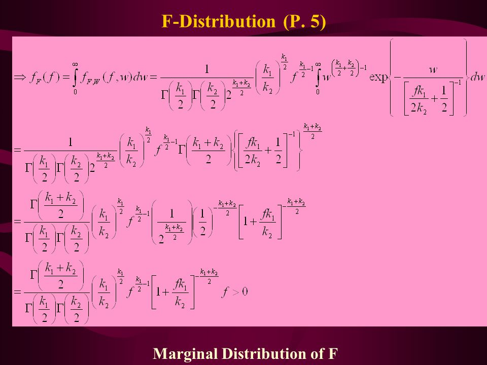 Marginal Distribution of F