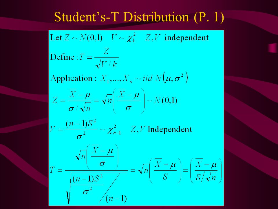 Student's-T Distribution (P. 1)