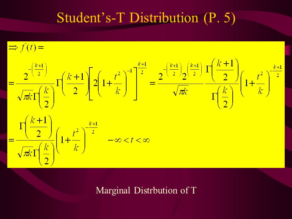 Student's-T Distribution (P. 5)