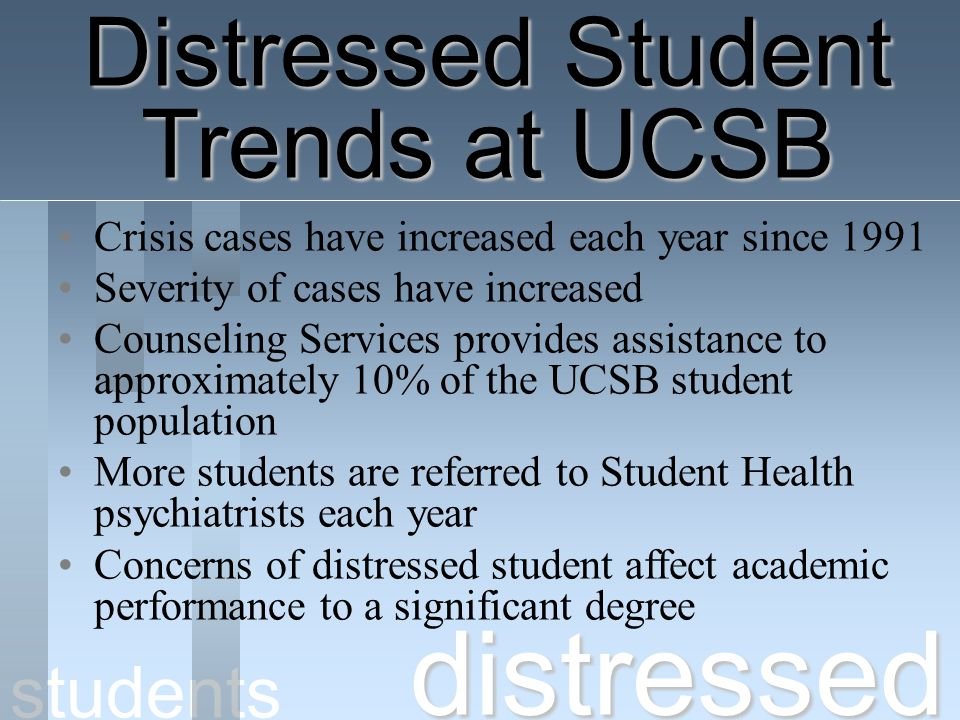 distressed Distressed Student Trends at UCSB students