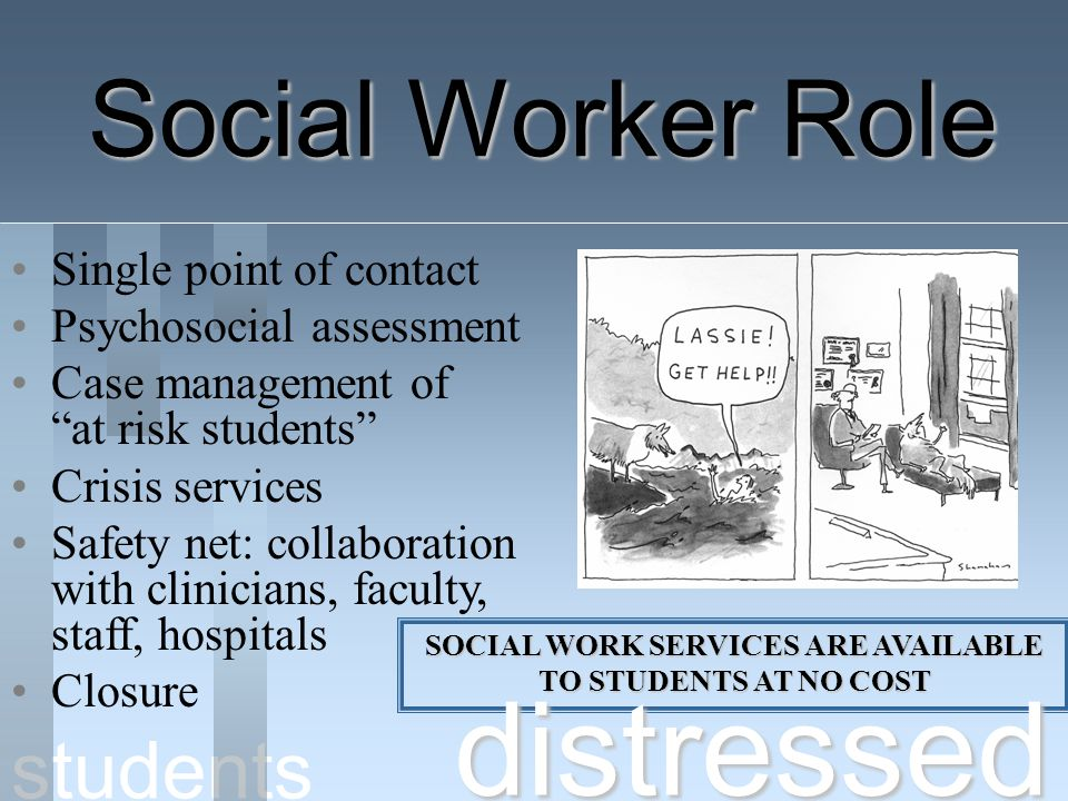 SOCIAL WORK SERVICES ARE AVAILABLE TO STUDENTS AT NO COST