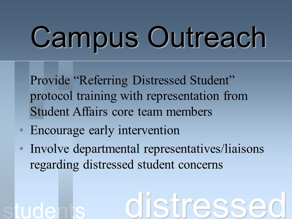 distressed Campus Outreach students