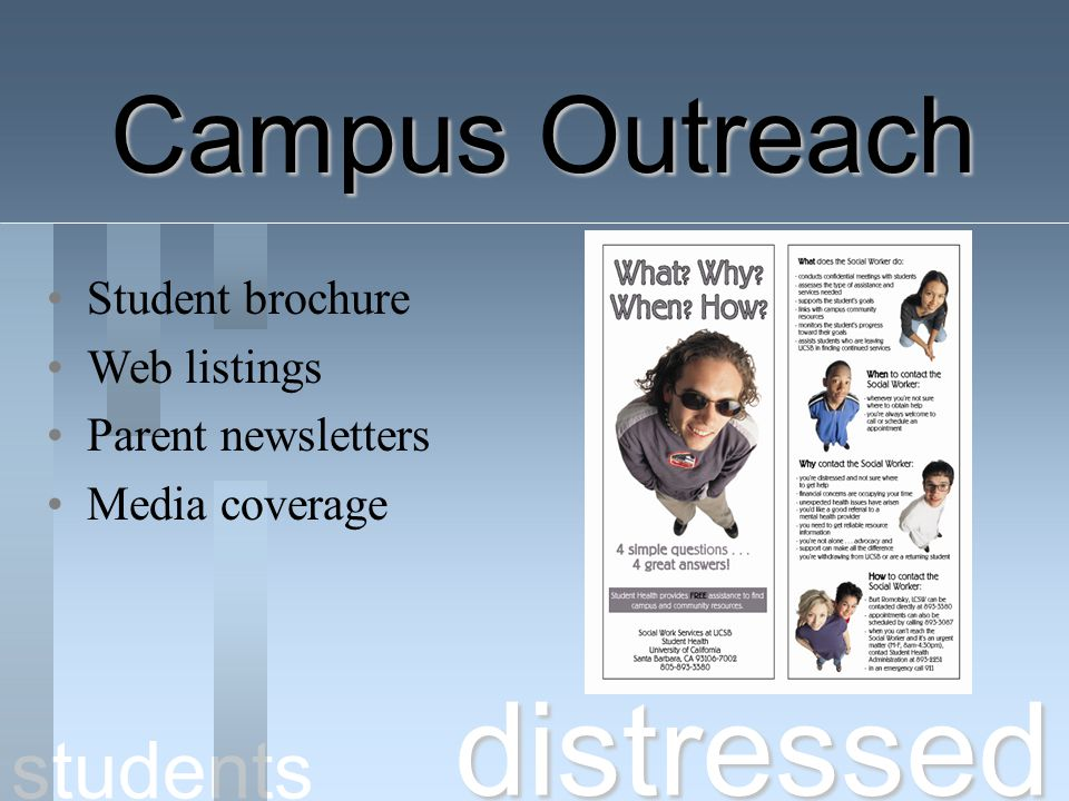 distressed Campus Outreach students Student brochure Web listings