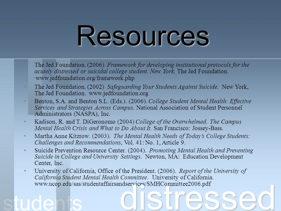 distressed Resources students