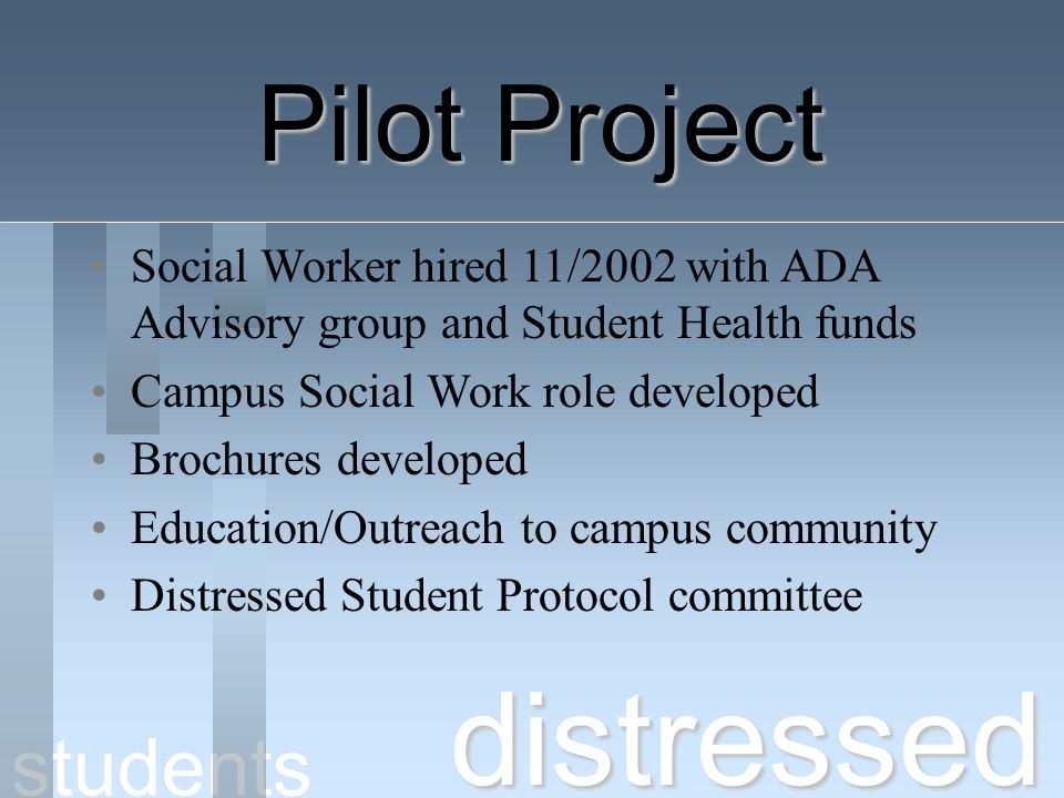 distressed Pilot Project students