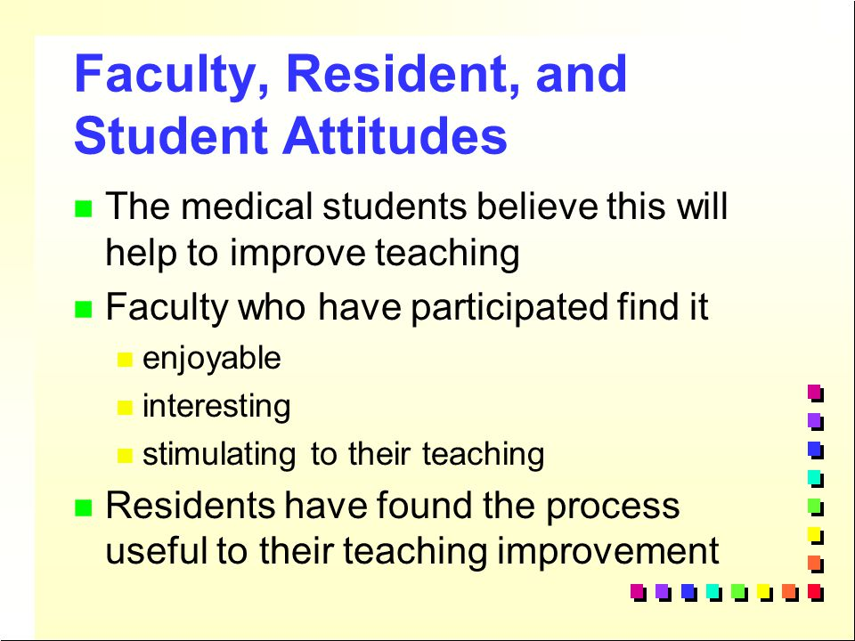 Faculty, Resident, and Student Attitudes