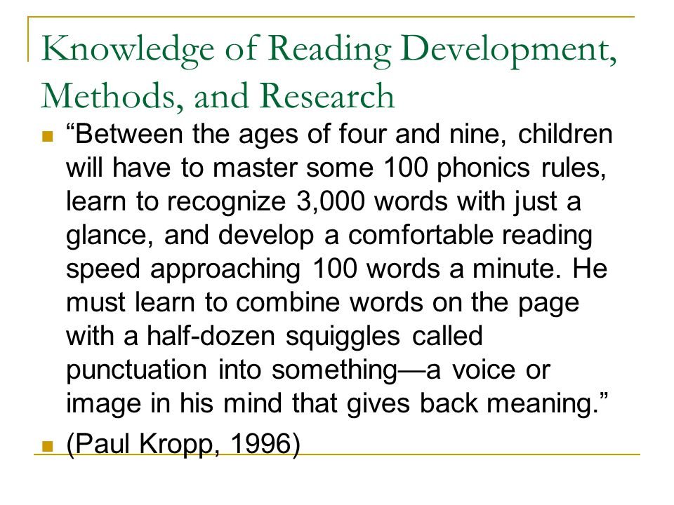 Knowledge of Reading Development, Methods, and Research