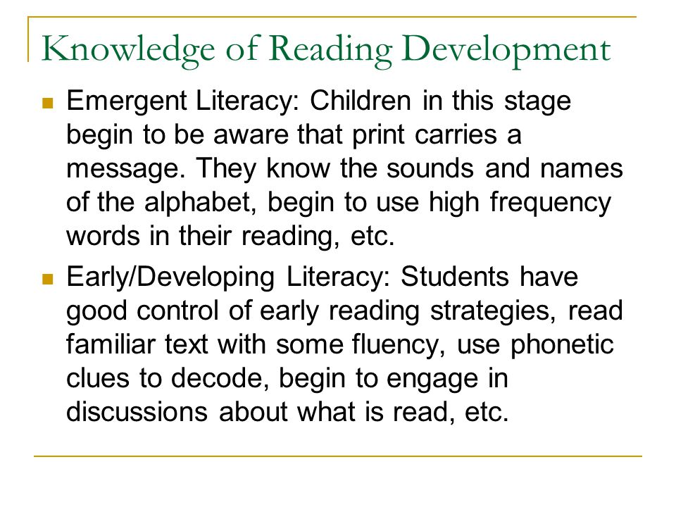 Knowledge of Reading Development