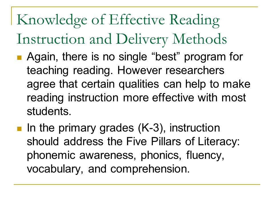 Knowledge of Effective Reading Instruction and Delivery Methods