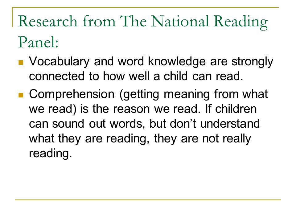 Research from The National Reading Panel: