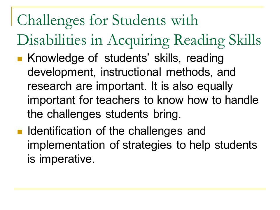 Challenges for Students with Disabilities in Acquiring Reading Skills