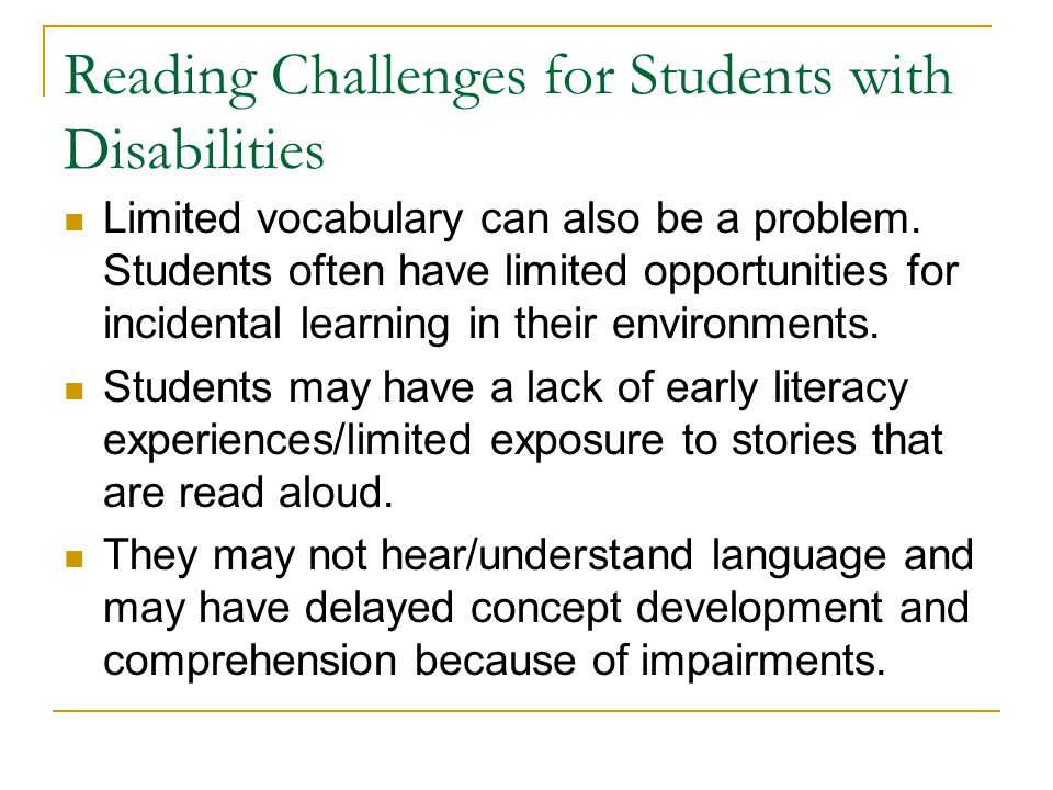 Reading Challenges for Students with Disabilities