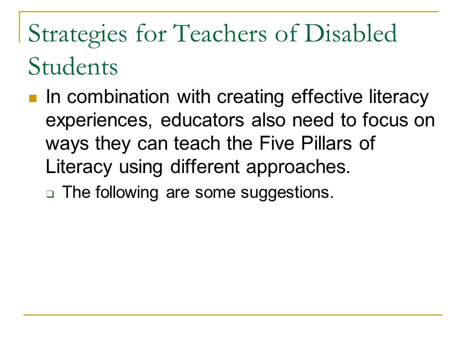 Strategies for Teachers of Disabled Students