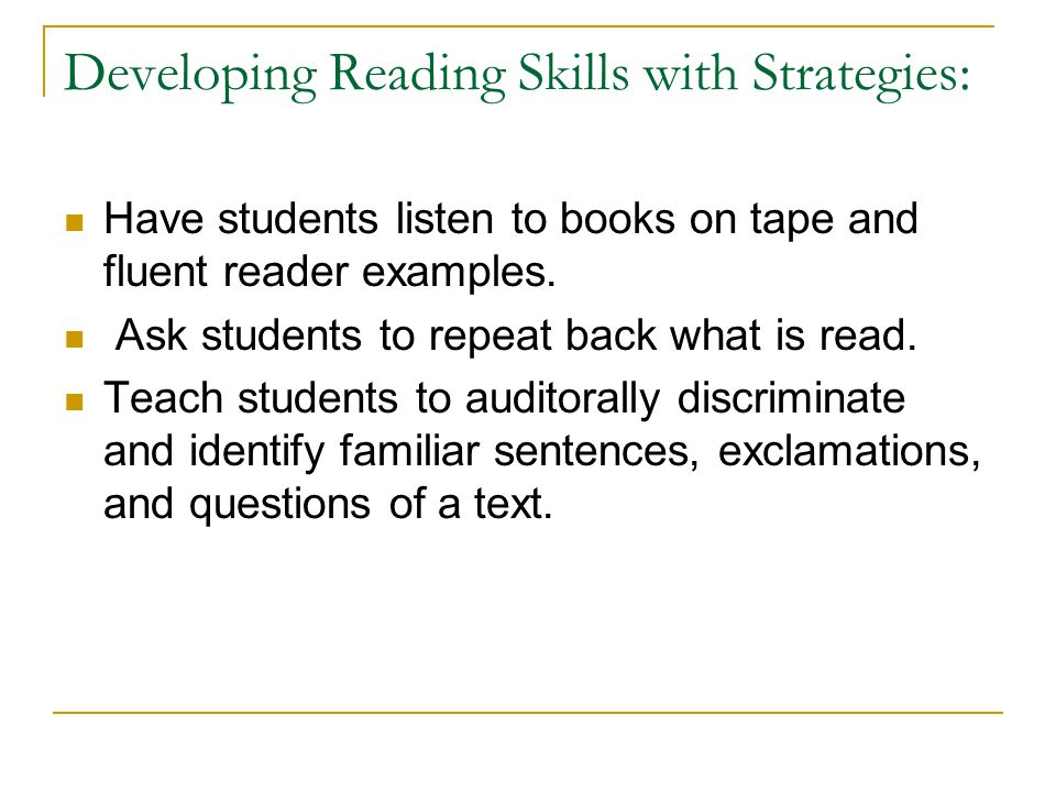 Developing Reading Skills with Strategies: