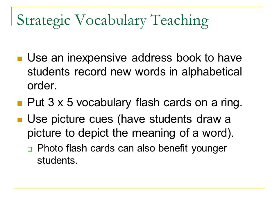 Strategic Vocabulary Teaching