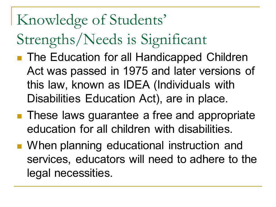 Knowledge of Students' Strengths/Needs is Significant