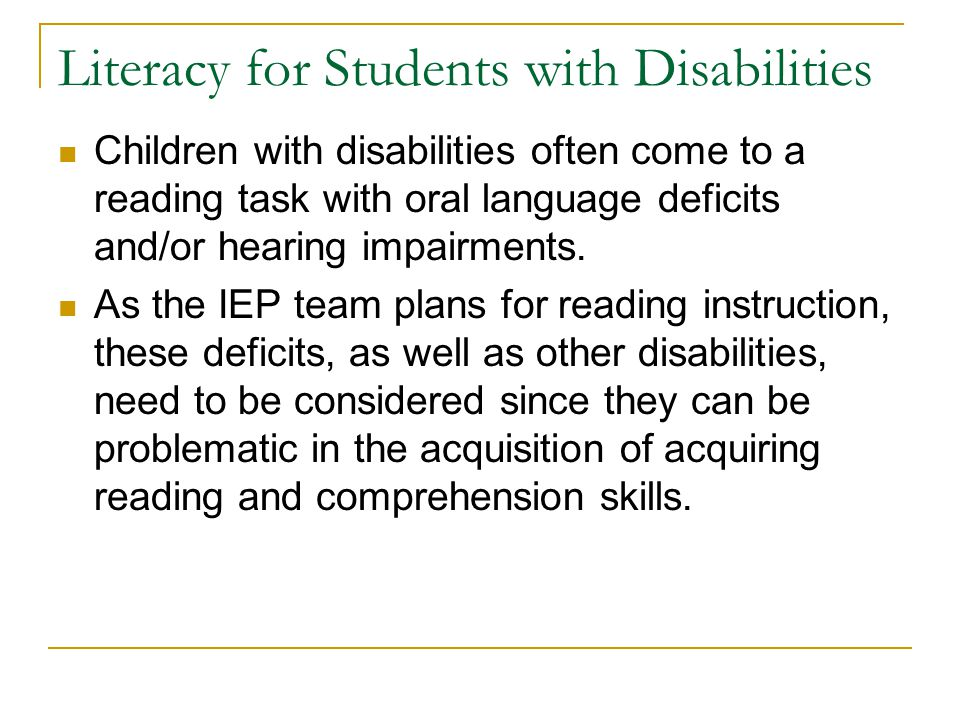 Literacy for Students with Disabilities